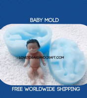 Baby mould, baby mold, silicone baby mold, OOAK baby, polymer clay baby, Fimo baby, Sculpey baby, baby fairy, fairy, free worldwide shipping